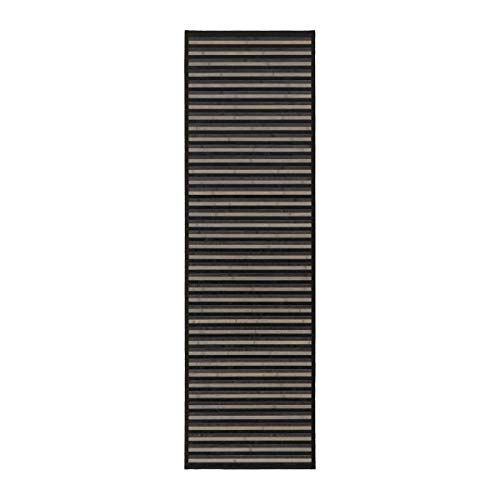 Alfombra pasillera Moderna Negra de bambú para Pasillo de 60 x 200 cm Factory - LOLAhome