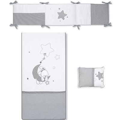 Pirulos 21013219 - Edredón, protector y cojín, diseño luna, 62 x 125 cm, color blanco y gris
