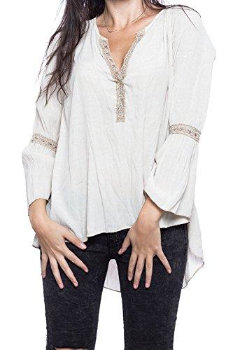 Abbino Valeria Camisa Blusa Top para Müjer - Hecho en ITALIA - 5 Colores - Verano Otoño Invierno Mujeres Femenina Elegante Formale Manga Larga Casual Vintage Fiesta Fashion Rebajas - Beige