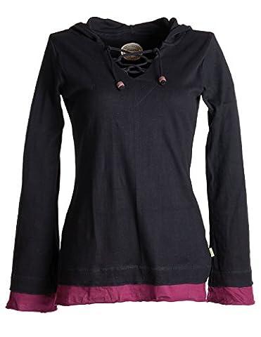Vishes – Alternative Bekleidung – Lagenlook Longsleeve Shirt mit Zipfelkapuze schwarz 36 (Nepal Herren Hoodie)