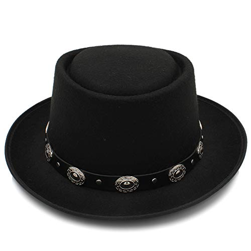 Mode Männer Frauen Filz Fedora Pork Fuß Hat Cashmere Flat Homburg Padrino Top Caps mit Mode Bowknot Frisch 56-58cm ()