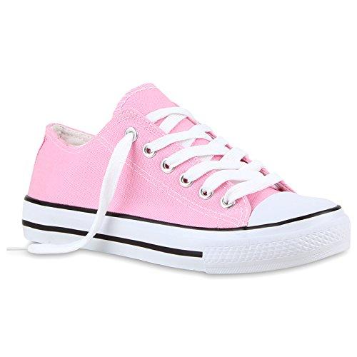 Damen Sneakers Glitzer Blumen Sneaker Low Stoff Denim Animal Prints Canvas Übergrößen Schuhe 118802 Rosa 38 | Flandell® (Denim Canvas Schuhe)