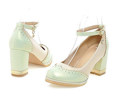 AllhqFashion Damen Rund Zehe Hoher Absatz Gemischte Farbe Schnalle Pumps Schuhe Hellgrün