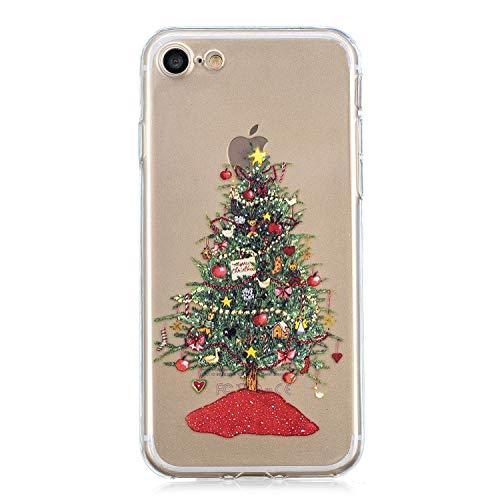 Ostop Rot Weihnachten für iPhone 8 Hülle,iPhone 7 Hülle,Weich TPU Silikon Kristall Klar Ultra Dünn Handyhülle Weihnachten Baum Schön Muster Abdeckung Transparent Kratzfest Schutzhülle (Ecke Weihnachten Baum)