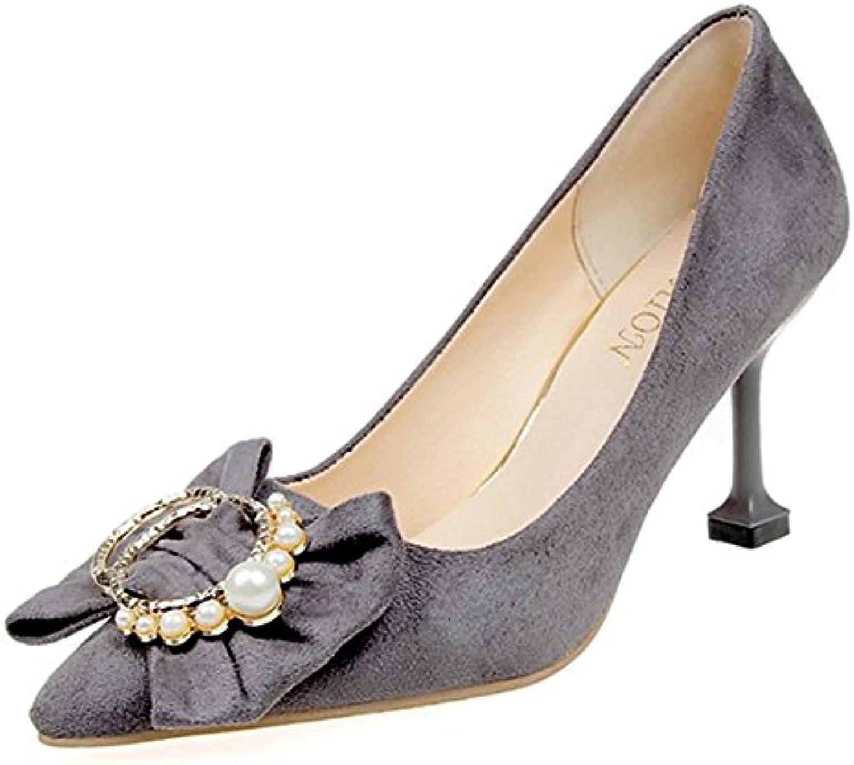 DIMAOL Damenschuhe Cashmere Feder Komfort Heels Stiletto Heel Schuhe Bowknot für Kleid Rosa Rot Grau Schwarz