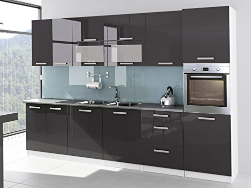 Cocina-completa-lacado-brillante-3-M20-Tara-gris-con-columna-horno-y-plan-de-trabajo
