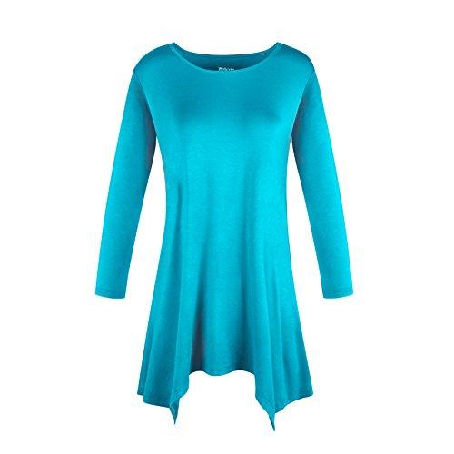 Zeigen Juniors T-shirt (DODOING Damen Runder Ausschnitt Casual Shirt Frauen 3/4 Ärmel Tunika Oberteile Tunikabluse Basics T-Shirt Blusen Tops)