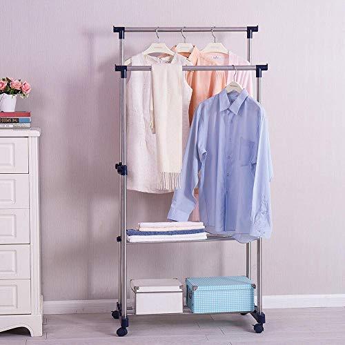 ALEILA Doppelte Kleiderstange, rollende verstellbare Kleiderablage mit Schuhregal aus rostfreiem Stahl Verkleidet Pipe Home Decor Kleiderbügel