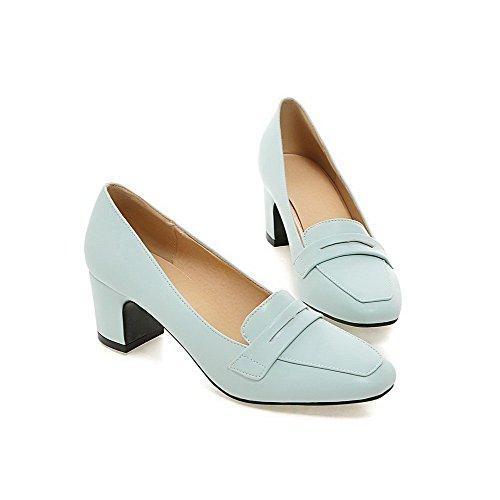 AgooLar Damen Ziehen Auf Mittler Absatz Mikrofaser Rein Quadratisch Zehe Pumps Schuhe Blau