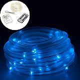 Smartfox 10m LED Lichterschlauch Leuchtdraht batteriebetrieben 8 Leuchtmodi und Fernbedienung für Innen Außen IP44 in blau