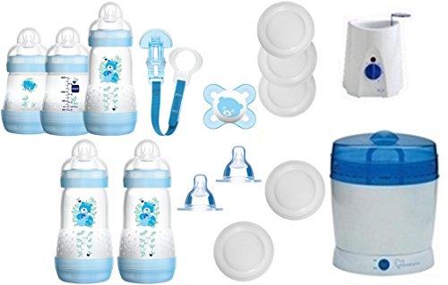 Preisvergleich Produktbild MAM Set 6 - Startset - Flaschen Sterilisator Babykoster Sauger 20 teilig - Junge + gratis Schmusetuch Löwe Leo