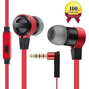 Auricolari in-ear con fili con cancellazione del rumore e microfono con telecomando,cuffie universali per Iphone,iPad,Samsung,iOS,Android,Window (rosso)