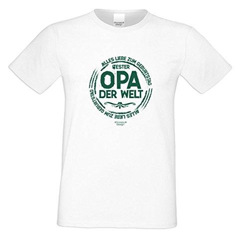 Alles Liebe zum Geburtstag Bester Opa der Welt ::: Schönes T-Shirt für Herren als Geschenk Farbe: weiss Weiß