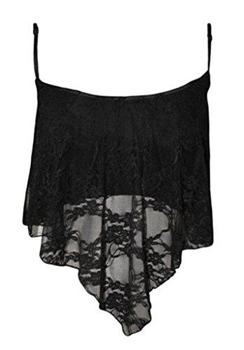 Smile YKK Top à Bretelle Femme Dentelle Chemise Courte T-shirt Sans Manche Blouse Plage Soirée Noir