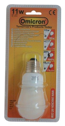 Omicron Energiesparlampe, T2, 11 W, GLS, kompakt, fluoreszierendes Licht, Edison-Gewinde