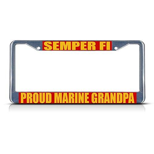 Semper FI Stolz Marine Opa Metall-Kennzeichenrahmen mit Zwei Löchern perfekt für Männer und Frauen Auto Garadge Dekor - Cruiser Aluminium Beach