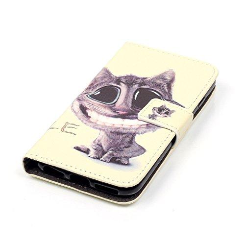 Feeltech iPhone 7 Plus 5.5 Inch Coque [Free Stylet] Book Fonction support Style Clip Portable de Protection Folio Couverture TPU Silicone Souple Fonction Anti-poussière Stand Magnétique Porte Fentes P Chat marrant