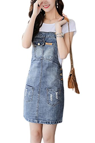 Las Correas De Liga Peto Denim Jeans Vestidos Bodycon Dress Azul XL