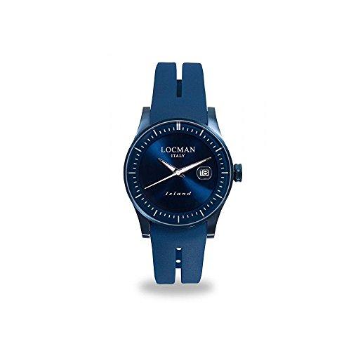 Orologio Locman ISLAND 0600BLBW-BLWSIB Al quarzo (batteria) Acciaio Quandrante Blu Cinturino Silicone