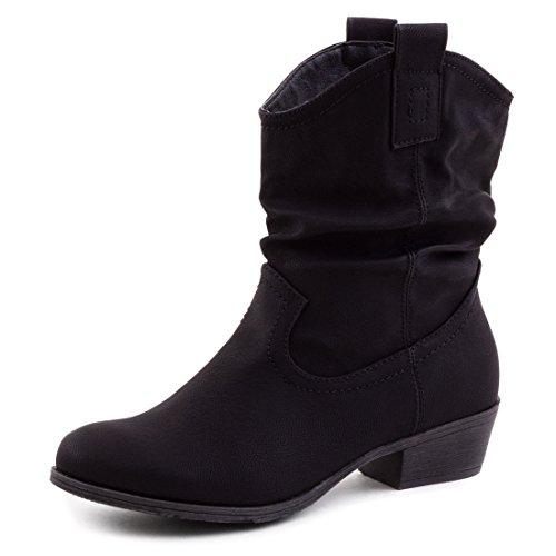Damen Stiefel Stiefeletten Western Biker Boots Lederoptik Schwarz 40