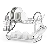 Rubik Dish Drying Rack, 2 Tier Stainless Steel Dish Rack with Utensil Holder, Glass, Cup, Cutlery Holder, and Dish Drainer for Kitchen Counter Top, Plated Chrome Dish Dryer Silver