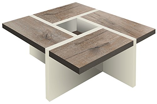 Quadro Uno - Tavolo di design, colore bianco alpino lucido
