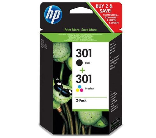 Hp 301 2-pack black/tri-color original ink cartridges - ink cartridges (black, cyan, magenta, yellow, hp, hp deskjet 1000 printer series - j110; hp deskjet 1050 all-in-one printer series - j410; hp deskjet , inkjet)