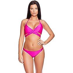 2tlg. Angesagte, Elegante Bikini Bademode Push up Softcup Slip Neckholder Bikini-Set f5401 Farbe: B9(1403-pink) Bikini Pink, Gr. 42 (L)