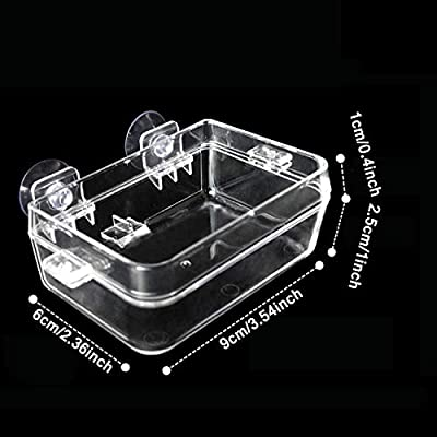 RYPET Suction Cup Reptile Feeder - Worm Dish Mini Reptile Food Bowl Translucent Anti-Escape Dish for Tortoise Gecko Snakes Chameleon Iguana Lizard by RYPET