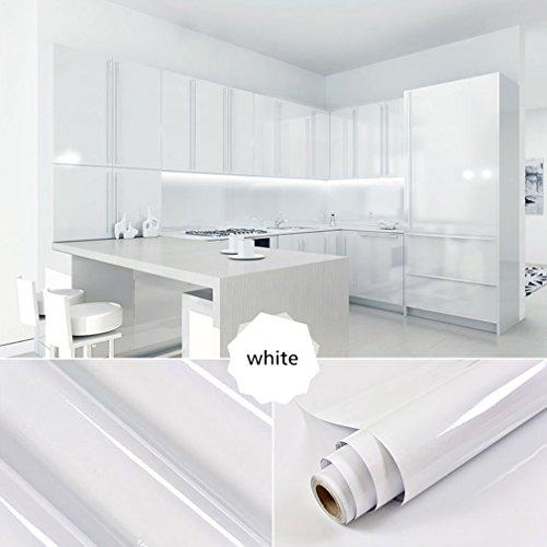 1er Top mueble de cocina de calidad engomada del PVC auto rollos de papel pintado adhesivo para Muebles / Cocina / Baño 0.61 * 5M pegatinas hoja de guarnición / Papel de pared del gabinete de la puerta, blanco
