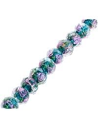 ILOVEDIY Abalorios de cristal transparente,10unidades, color azul pavo real, 12 x 8 mm, ideal para hacer pulseras y joyería