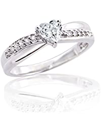 Silver Dew Pure 925 Sterling Silver 0.50 Ct Heart Solitaire Diamond Ring Festival Wear Ring For Women & Girls...