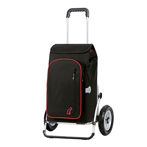 Sondermodell Andersen Einkaufstrolley Royal XXL & Einkaufstasche Toto schwarz mit Kühlfach | Einkaufswagen mit luftbereiften Rädern | Trolley aus Aluminium klappbar