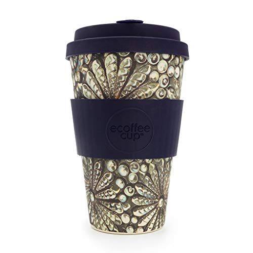 Ecoffee Cup Kai Leho Grau, Multicolor, Violett Kaffeepads, Tasse/Becher (Kaffee, Solo, 0,4 l, Grau, Mehrfarbig, Violett, Bambusfaser, 1 Stück -