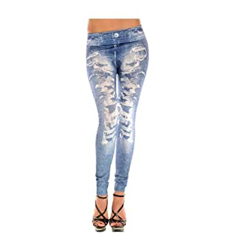 ISASSY New Sexy Womens Leggings /Jeans Graffiti Jeggings Stretchy Skinny Pants Printed Pattern Legwear Tights, 27 Designs Ladies Fashions Demin LooK 1 Jeggings M color as picture