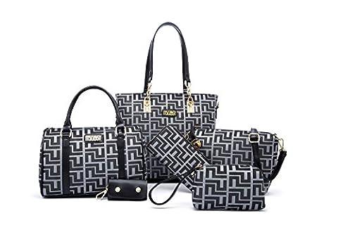 Handbags for Women Bags for Ladies Handbag and Purse Shoulder Bags+crossbody Bags+wallet+purse+keychian 6 Piece Set Bag (gray)