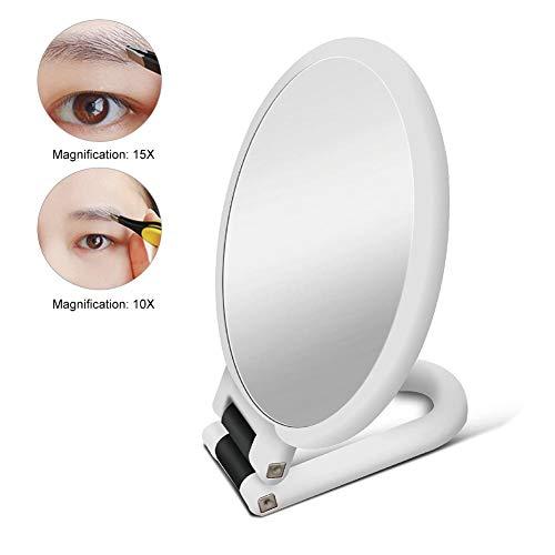 Espejo de aumento para maquillaje, espejo de doble cara, cosmético, plegable, 10X / 15X