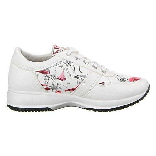 Damen Schuhe, 22-146, FREIZEITSCHUHE Weiß Rot