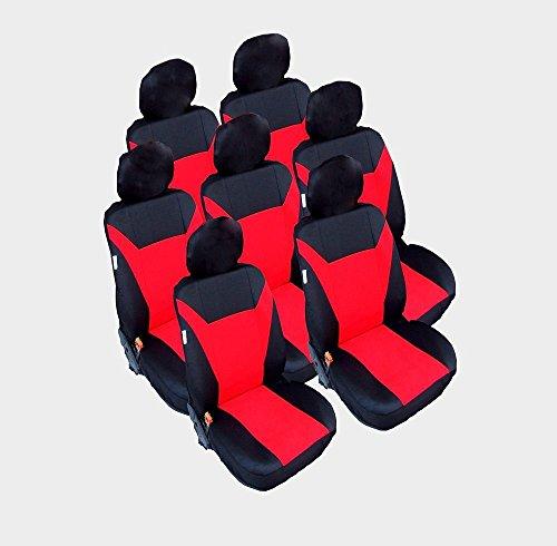 7x Sitze Sitzbezüge Schonbezüge Schwarz Rot Satz Neu Hochwertig