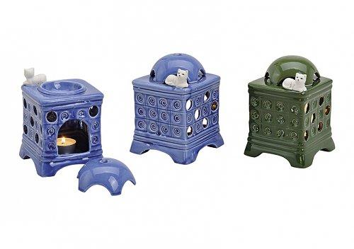 1 Duftlampe KACHELOFEN aus Keramik mit Topf, 2 Farben, Farbe:blau