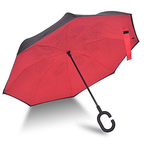 Ombrello con meccanismo di apertura riverso invertito utilissimo in caso di pioggia rovesciato, C Forma impugnatura dritta Rod doppio strato invertito Ombrello per auto all'aperto (Rosso A)