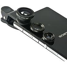 First2savvv JTSJ-YY-A01 negro Teléfono móvil universal 3 en 1 Kit clase Camera professional Lente Clip (ojo de pez,gran angular y macro) para Nokia Lumia 800 900 820 920 620 510 520 530 720 925 1020 625 1320 1520 630 930 635 830 Lumia 735 535 435 ALCATEL IDOL 2s IDOL 2 IDOL a IDOL X+ IDOL mini IDOL s IDOL X HERO 2 HERO 2C HERO POP 2 POP C5 POP S9 POP S7 POP C9 POP C7 POP 2 (5) PIXI 3 Samsung Galaxy S6 , Samsung Galaxy S6 edge, Samsung Galaxy A5, Samsung Galaxy A3,Samsung Galaxy Core Prime