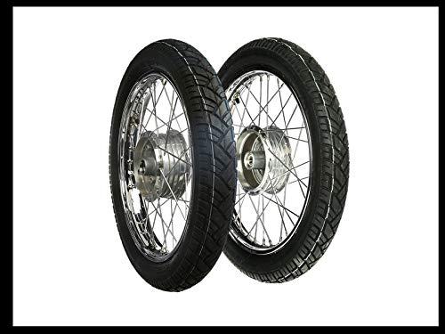 """MZA Set: 2 Kompletträder 1,5x16"""" Stahlfelge verchromt + Chromspeichen + Reifen Vee Rubber 094"""