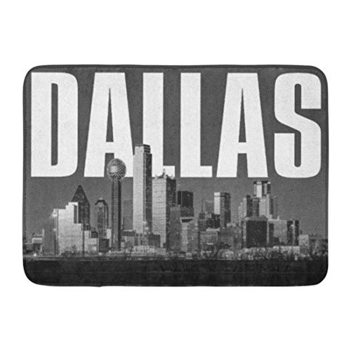 Kinhevao Badteppich Texas Dallas Stadtbild Öl Cowboys City USA Badezimmer Dekor Teppich (Dallas Dekor Cowboy)