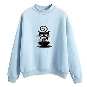 AQIN Damen Niedliche Katze Gemustert Lange Ärmel Sweatshirt Pullover Rundhals Warm Halten Hochwertige Baumwollmischung