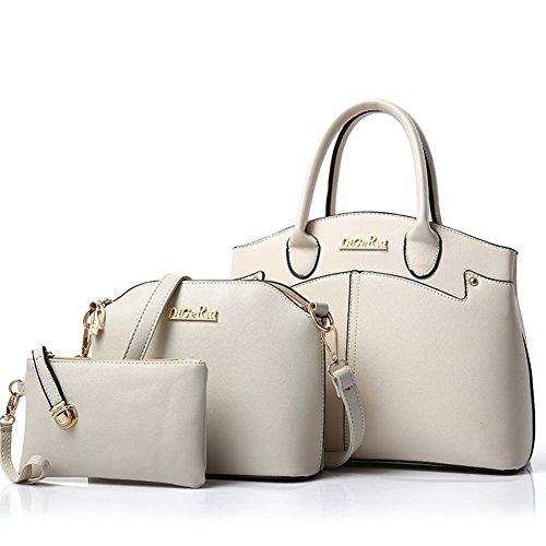 fanhappygo Damen Handtaschen PU Leder Leder Handtaschen Schulter Wallet Geldbörse Beutel Tote Schultaschen Messenger Bags Weiß