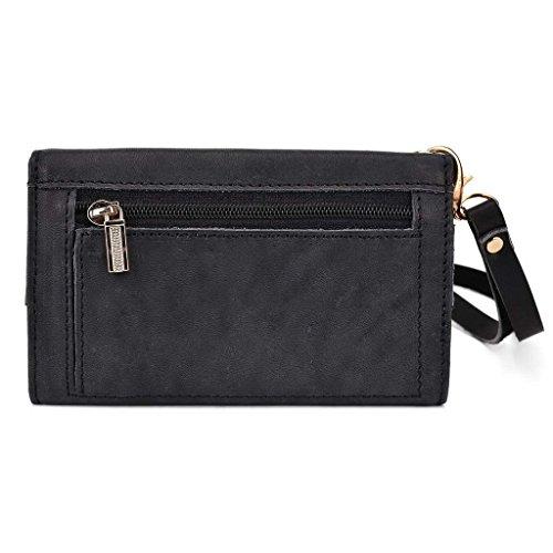 Kroo Pochette Housse Téléphone Portable en cuir véritable pour Panasonic Eluga I noir - noir noir - noir