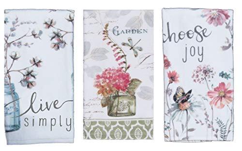 Kay Dee 3-teiliges Frottee-Handtuch Set mit 3 Handtüchern mit Kunstwerken von Lisa Audit Schmetterlinge, Blumen und Mason Jars (Mason Jar-schmetterling)