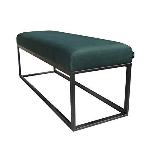 Küche Sitzbank (Damiware Couchy Sitzbänke | Esszimmer, Küche, Wohnzimmer | Mikrofaser Leder und Metallbeine (Samt Grün))
