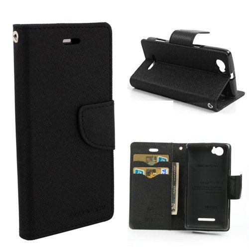 Cubezap Mercury Goospery Fancy Diary Card Wallet Flip Case Back Cover for Sony Xperia M Experia Dual - Black  available at amazon for Rs.380